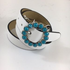 White Leather Belt Faux Turquoise Stone Buckle